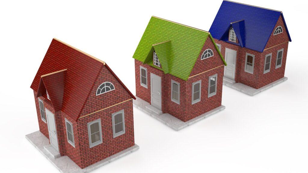 3つの家の模型