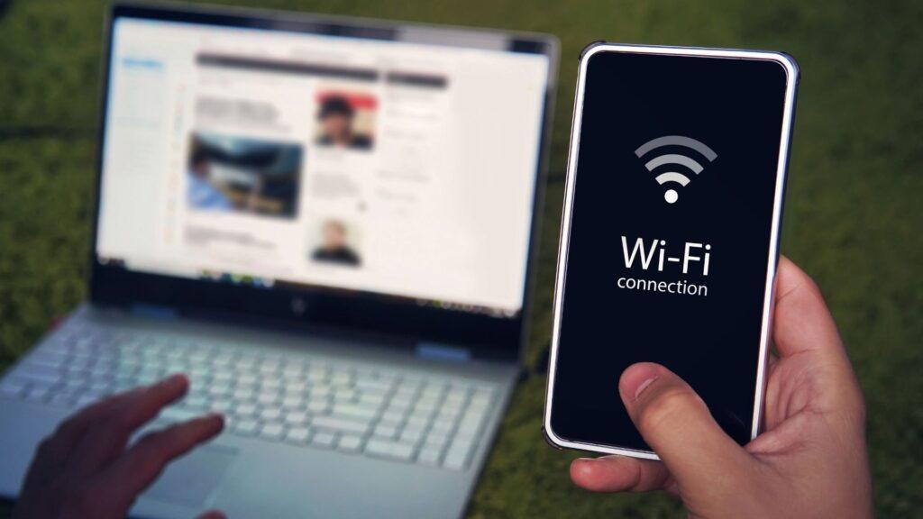 Wifiにアクセスしている手元